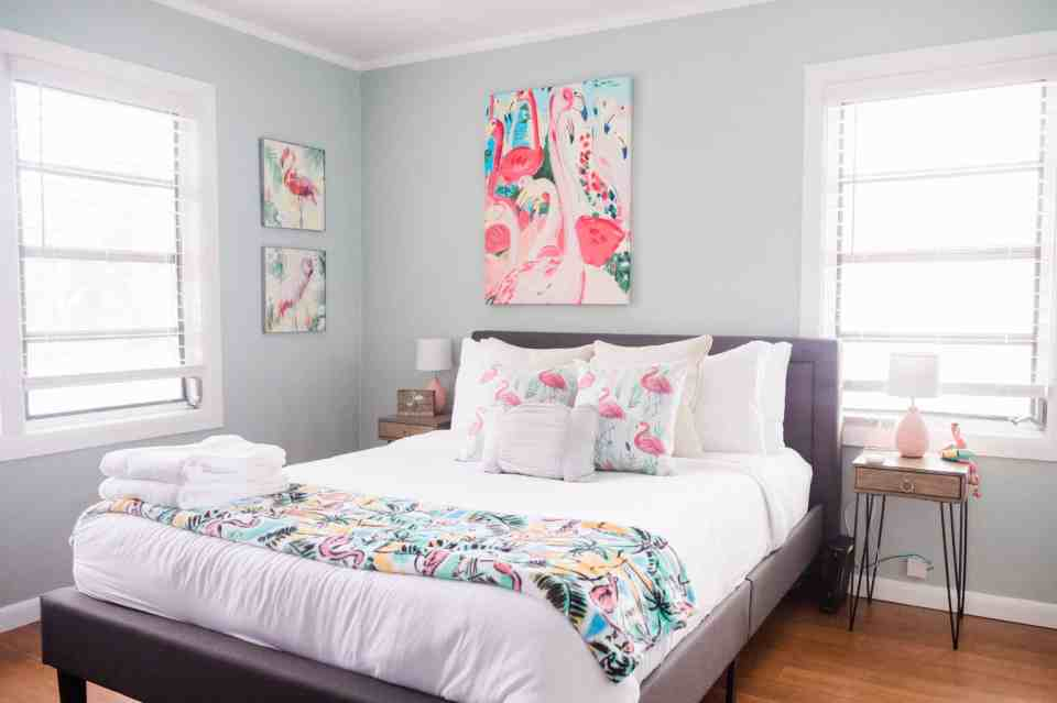 Beach Life Bungalow Bedroom After  Photo - Coastal Vibrant Transformation - AirBnb Makeover - Flamingo Bedroom