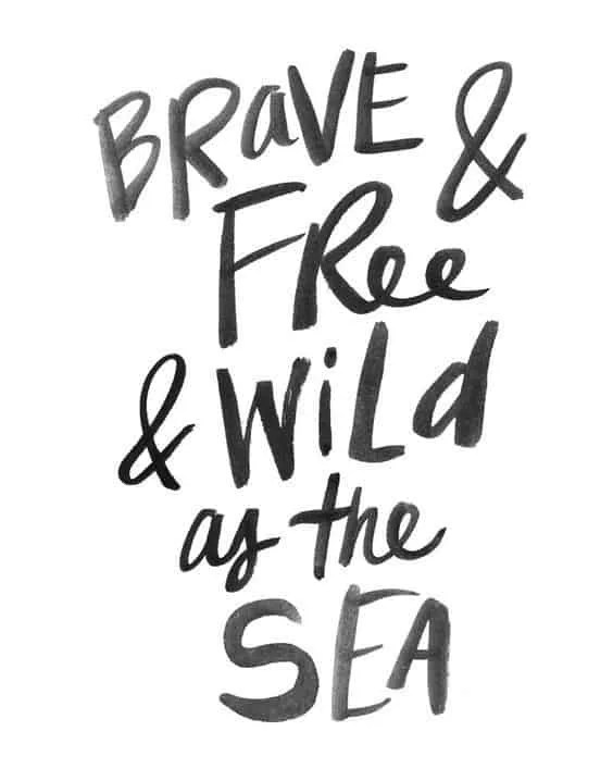 Beach quotes - brave and free and wild as the sea