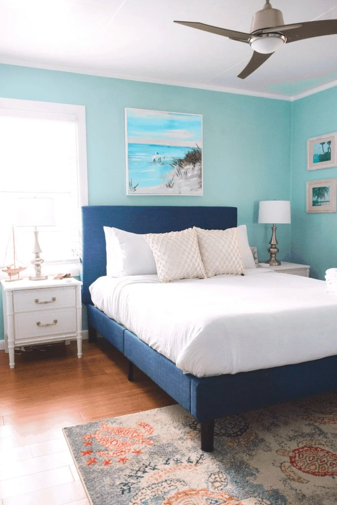 Turtle Bedroom - Beach Life Bungalow Bedroom After  Photo - Coastal Vibrant Transformation - AirBnb Makeover