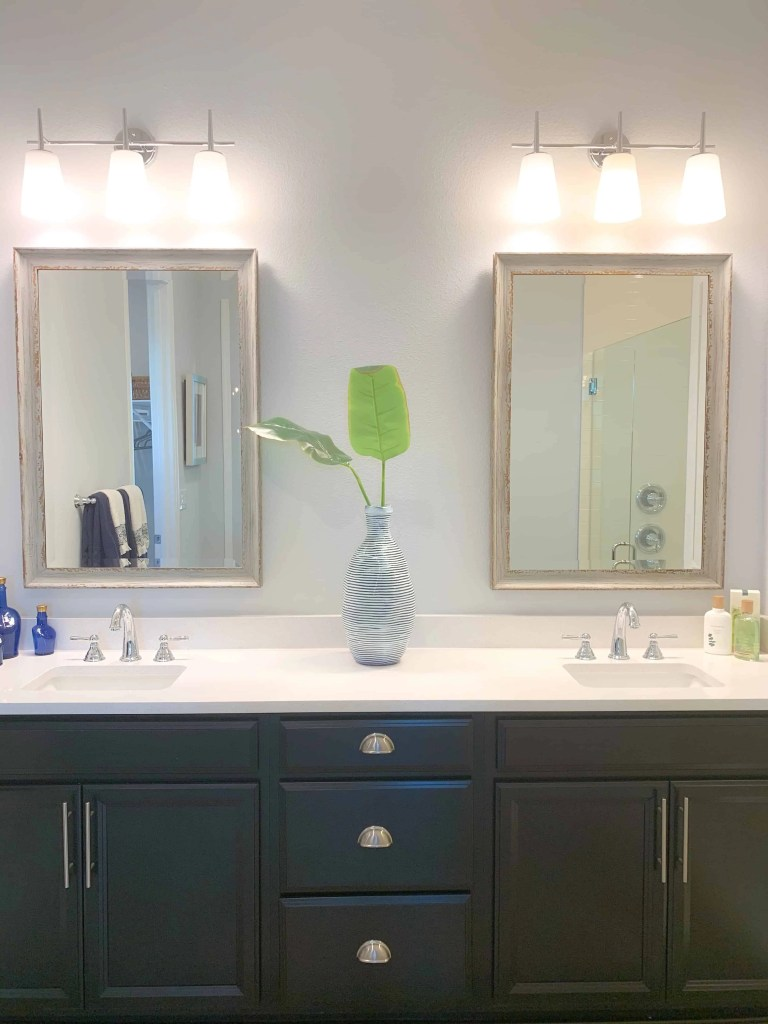 Fresh master bathroom in model beach house
