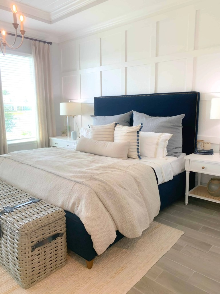 Fresh master bedroom - navy clue, beige, and white