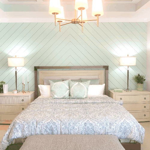 Seafoam Green Airy Bedroom Design