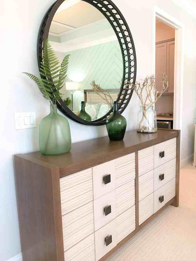 Black Circular Accent Mirror  - Seafoam Green Airy Bedroom Design