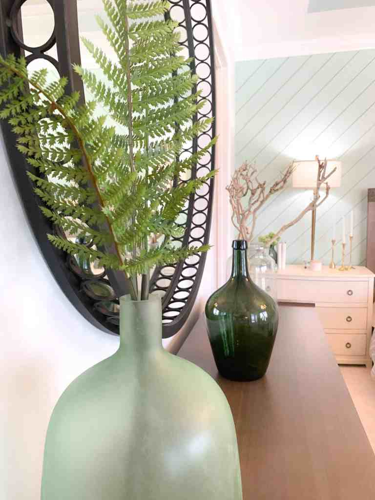 Dresser with green accents - Seafoam Green Airy Bedroom Design
