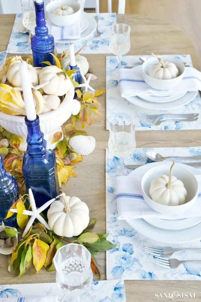 Royal blue and yellow accents for a fall tablescape