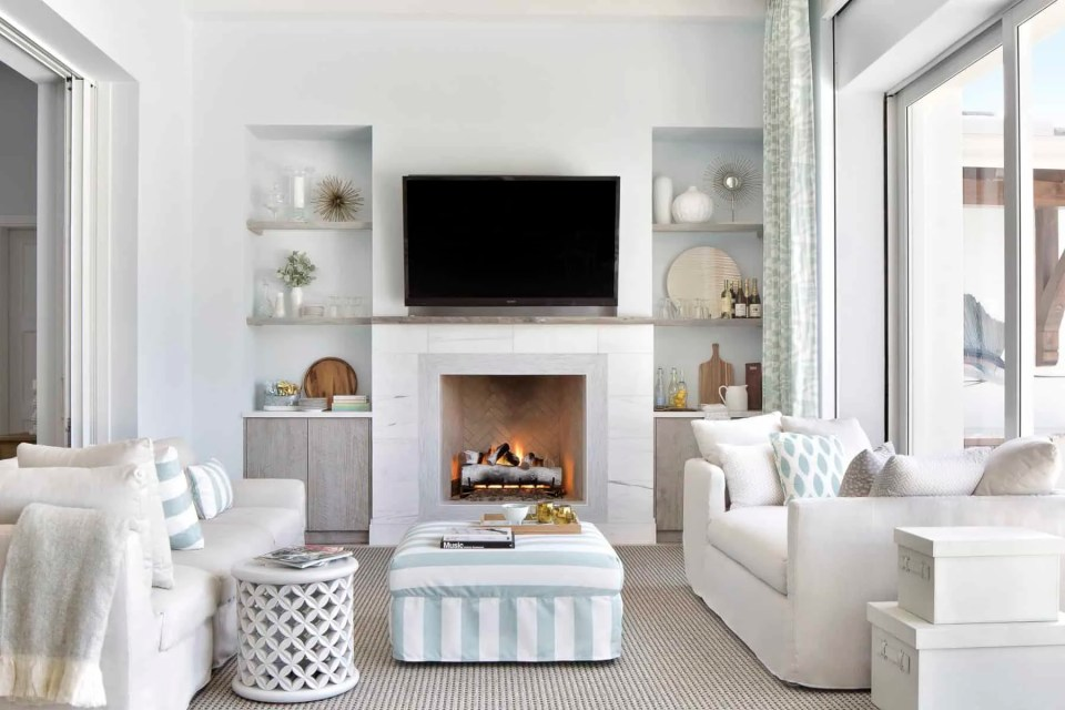 Formal Living Room With Coastal Blue Ottoman and Throw Pillows  - Coastal Calm Home Design With Amazing Relaxed Beach Décor Ideas