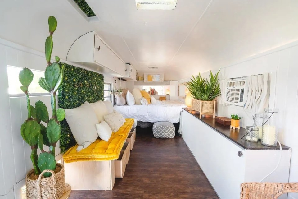 Yellow and Green Bohemian Style Interior Design Tiny House