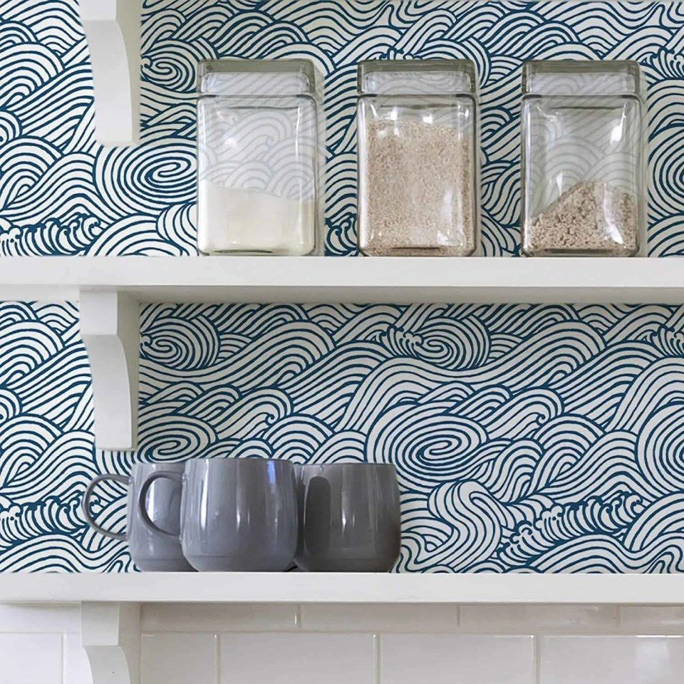Create An Accent Wall With Wallpaper in Wave Print - Easy DIY Home Decor Projects For Your Beach House