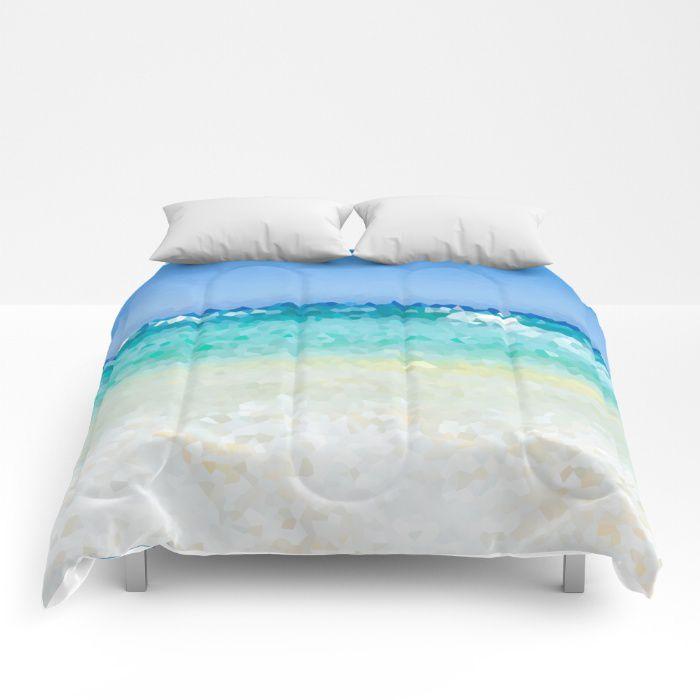 Abstract Beach Comforter Ocean Sea Bedding Hawaii Coastal Style Full King Queen Sizes