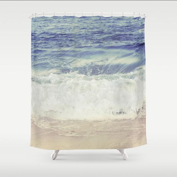 pastel blue ocean shower curtain ocean bathroom decor tropical coastal scandinavian style 71x74 inches