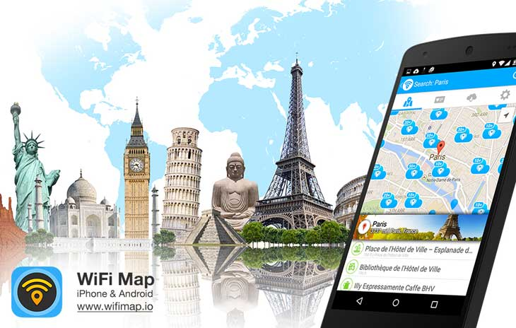 WiFi Map smartphone application showing wireless networks in your proximity along with passwords