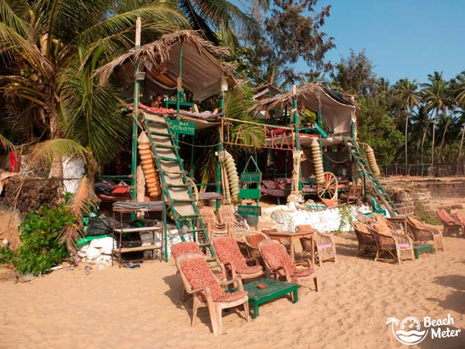 The Quirky Tantra Beach Shack and Hut on Anjuna Beach in Goa.