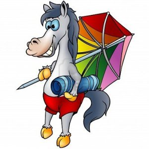 """Short sentence: """"Why is this image used? What message it supposed to convey?"""". try to naturally include an SEO keyword to describe the image: E.g. """"Cartoon Horse on the beach with beach towel and sun umbrella"""""""