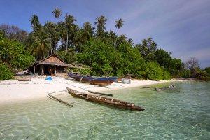 A fisherman's beach hut on the south side of Wunga Island Lagoon off the west coast of Nias Island, Indonesia