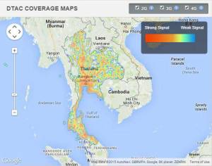 DTAC mobile phone coverage in Thailand