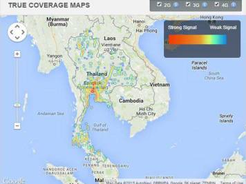 TRUE mobile phone coverage in Thailand