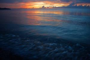 Dramatic sunset at Pantai Dalit Beach in Sabah, Borneo