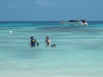 Snorkelers looking for marine life at Koh Tachai, Virgin Island, in the Mu Ko Similan National Park of Thailand.