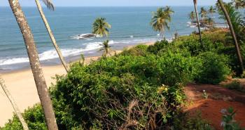 Overview of one of Goa's Beaches, Small Vagator Beach, India.