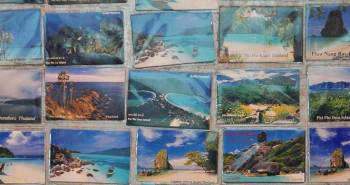 Collage of postcards of beaches, islands, limestone rocks, and beautiful landscapes from Thailand incl. Phi Phi Island, Krabi, Similan Islands, and Koh Phangan.