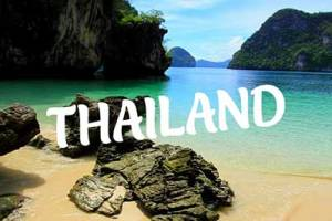 Thai beach and limestone cliffs