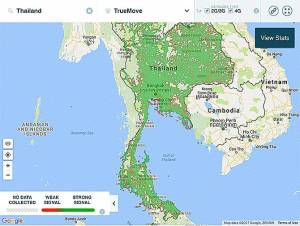 TrueMove Phone Signal Coverage Map Thailand