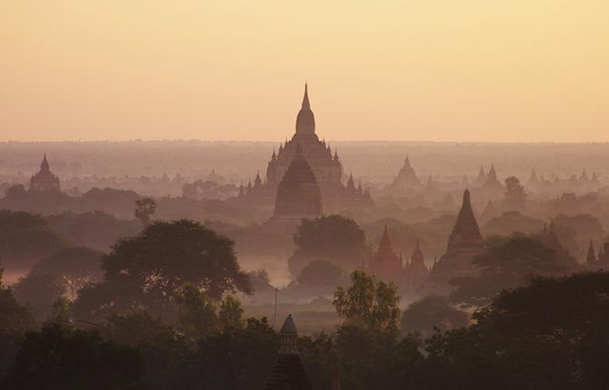 Overview of the historic city of Bagan in Myanmar.