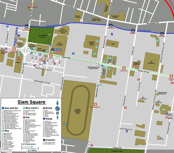 Siam Square tourist map, Bangkok
