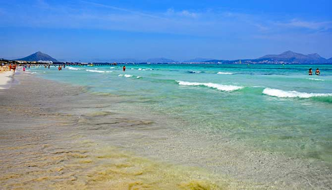 Blue water at Playa de Muro in Mallorca