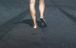 footsteps on black sand