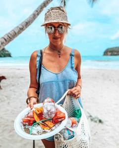 Beach cleanup of plastic and other garbage