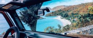 Trunk Bay of the U.S. Virgin Islands National Park as seen from inside a car