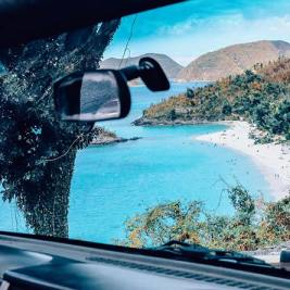 Trunk Bay of the U.S. Virgin Islands National Park as seen from inside a car