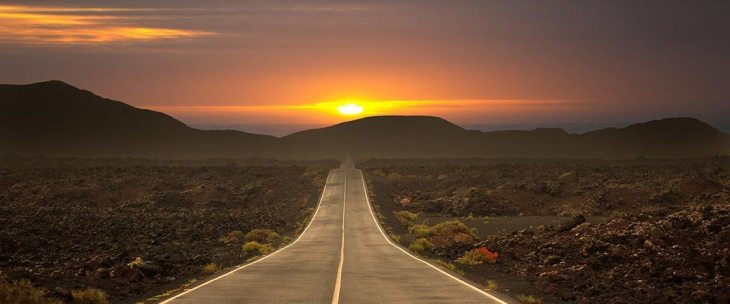 empty road during sunset