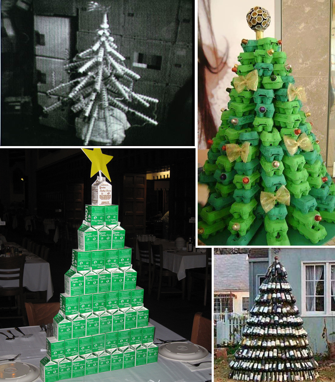 4 christmas trees made from packaging - When Was Christmas Made