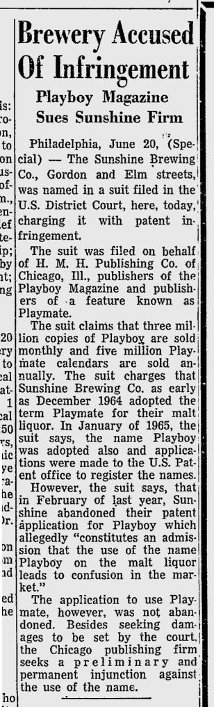 1966-Newspaper-Playboy-v-Sunshine