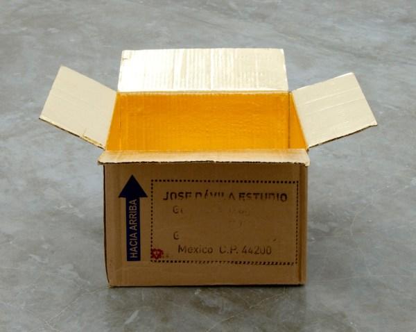 Jose Dávila's gold-leafed cardboard boxes
