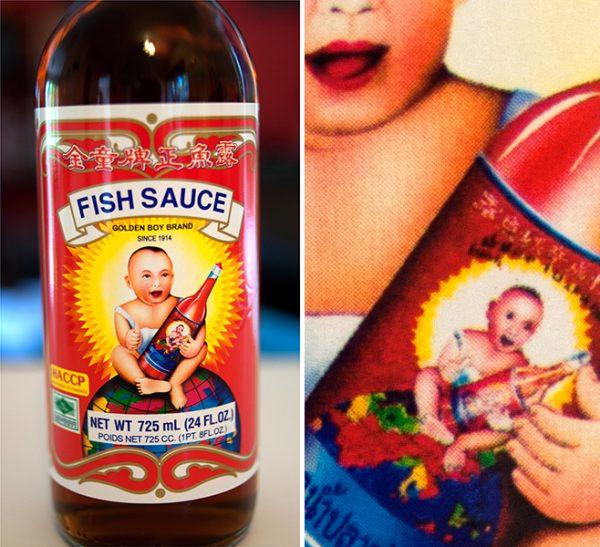 Golden Boy Brand fish sauce (Droste effect packaging)