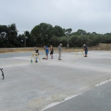 August 27, 2011 Pastor Bill, Don & Marie Wilbanks, Bob Vallee, Ernie McCollum, Matt Gedeon, Michaela, Hannah, Billy, Sarah, & Christy Reynolds, Bruce Miller, and Dave Vallee attempting to work on the sill plates. However, it rained. We had to pack up and wait for clearer skies.