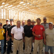 9/30/11 What a crew! These guys put in quite a week--all the trusses up and over 100 boards up out of 475. WOW. Thank you, guys! L-R Devan, Brannon, Brian Miller, Joe Fahed, Terry Miller, Ed Verra, Don Willbanks, John Buschmann, Pastor Bill, Bob Vallee