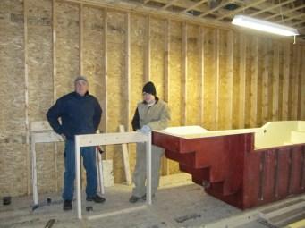 1/12 Gordon & Tai-yo building the framework for the baptistry