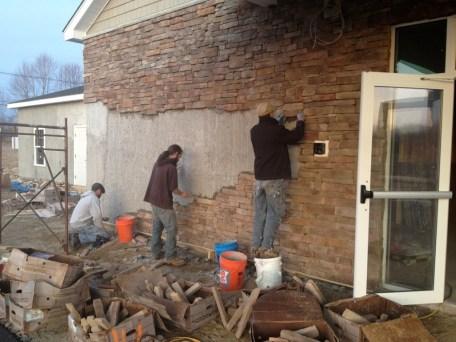 3/13/12 Chris, Matt, & Matt putting up stone