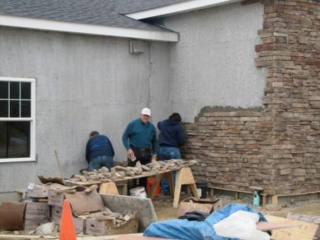3/17/12 Men's Prayer Breakfast workday: Chris, Matt, Ray, Frank, & Luke putting up stone