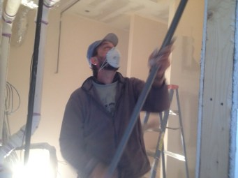 4/3/12 Pastor Bill painting one of the baptistry rooms