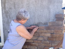 4/16/12 Shirley Hargraves installing a stone