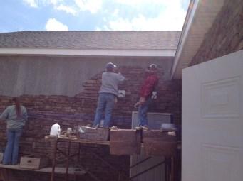 4/24 Hannah & Christy Reynolds, Chris Kairnes working on the wall