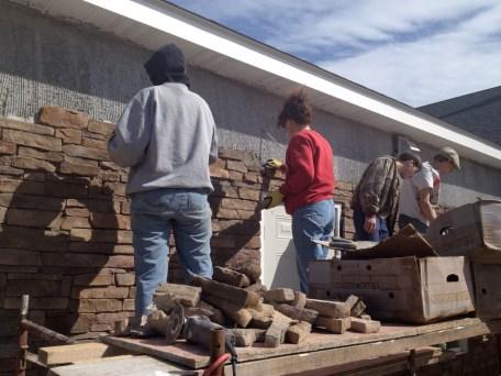 4/28/12 Christy, Tammy, Devan, Matt, & Michaela working on the front Sunday School wing