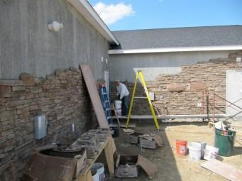 4/11/12 Gordon working solo on the stonework