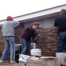 5/2/12 Christy, Tabetha, & Michaela laying stone