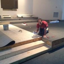 5/21/12 Gary Wilson gluing the platform carpet